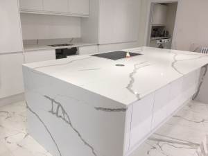 Marble effect kitchen quartz